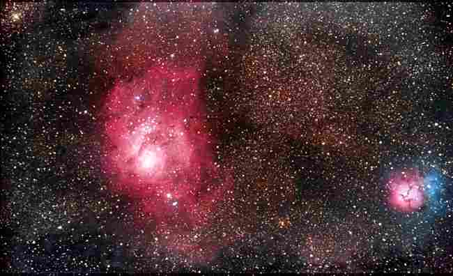 Lagoon and Trifid Nebula by Jim Brownfield